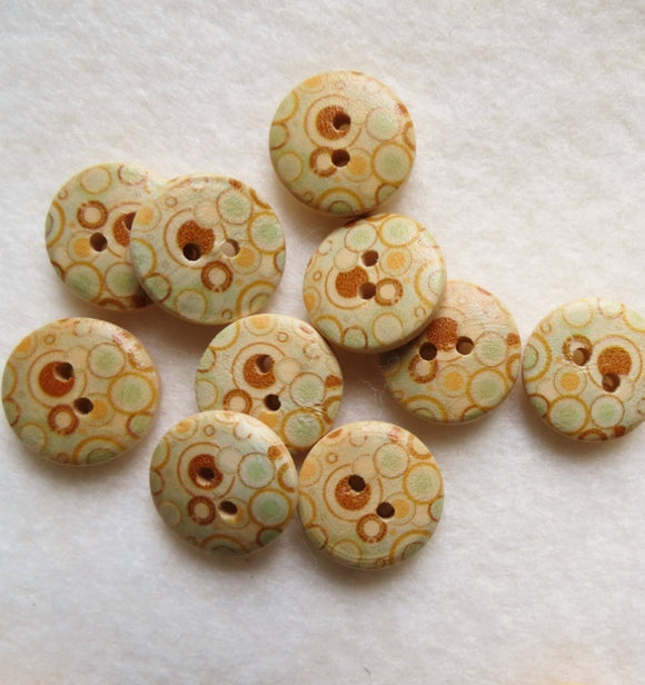 Natural Wood Buttons, Printed Wooden Button- Retro Bubbles (x5) 15mm
