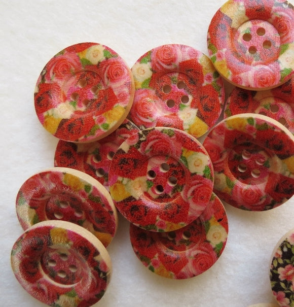 Natural Wood Buttons, Printed Wooden Button- English Rose 25mm