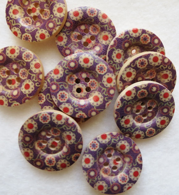 Natural Wood Buttons, Printed Wooden Button - Retro Floral 25mm