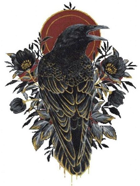 Raven Inktober, Modern Counted Cross Stitch Kit -Scandy Girl