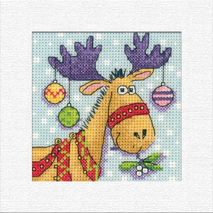 Reindeer Christmas Card Cross Stitch Kit, Heritage Crafts -Karen Carter