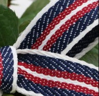 Denim Stripe Red, Blue, White Grosgrain Ribbon -15mm