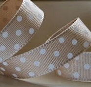 Caramel and White Dotty Grosgrain Ribbon -15mm