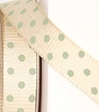 Cream and Green Dotty Grosgrain Ribbon -15mm