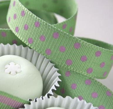 Mint Green and Pink Dotty Grosgrain Ribbon -15mm