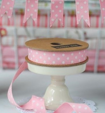 Pink and White Dotty Grosgrain Ribbon -15mm