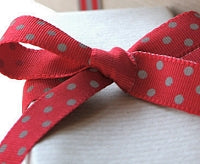 Red and Grey Dotty Grosgrain Ribbon -15mm