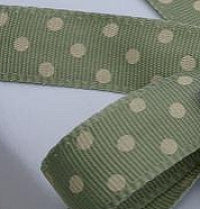 Sage Green and Cream Dotty Grosgrain Ribbon -15mm