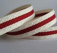 Cranberry Red and Cream Duo Stitch Stripe Grosgrain Ribbon -15mm