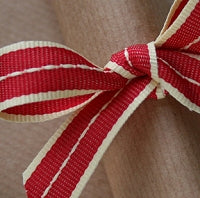 Vintage Red and Cream Stitched Stripe Grosgrain Ribbon -15mm