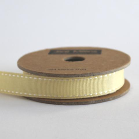 Camomile Grosgrain Ribbon, Stitched Edge -15mm