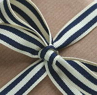Navy Blue and Cream Stripe Grosgrain Ribbon -15mm
