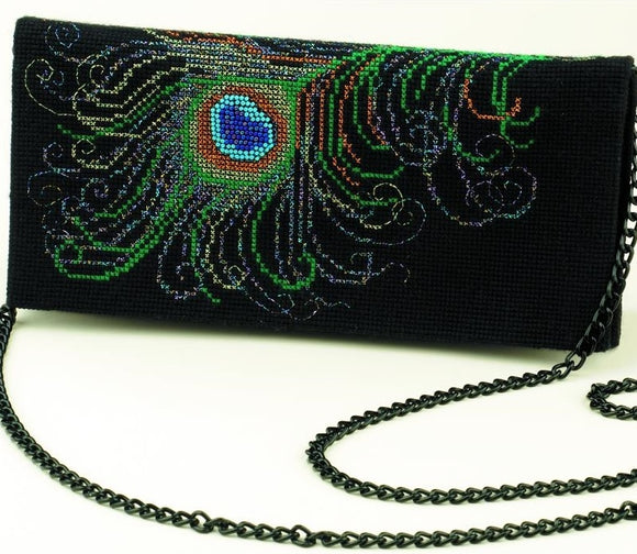 Peacock Clutch Bag Counted Cross Stitch Riolis Kit R1428AC