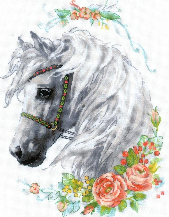 White Mane and Roses Cross Stitch Kit Riolis R1804