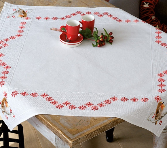 Robin Cross Stitch Kit Tablecloth, Vervaco pn-0157099