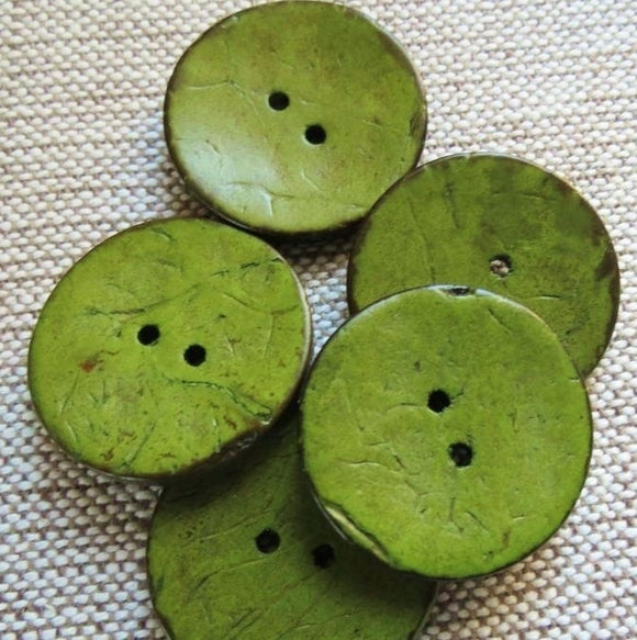 Coconut Buttons, Sage Green Rustic Textured Coconut Button -Extra Large 40mm