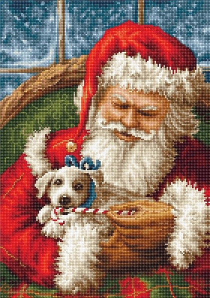 Santa and Puppy Petit Point COUNTED HALF Cross Stitch Kit Luca-s G561