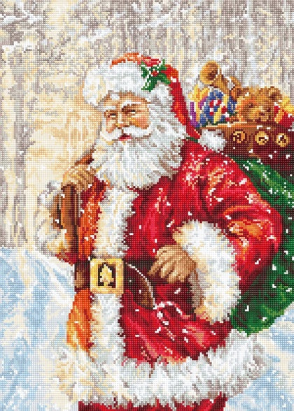 Santa in the Snow Petit Point COUNTED HALF Cross Stitch Kit Luca-s G575