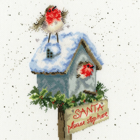 Santa Stop Here Cross Stitch Kit, Bothy Threads -Wrendale XHD55