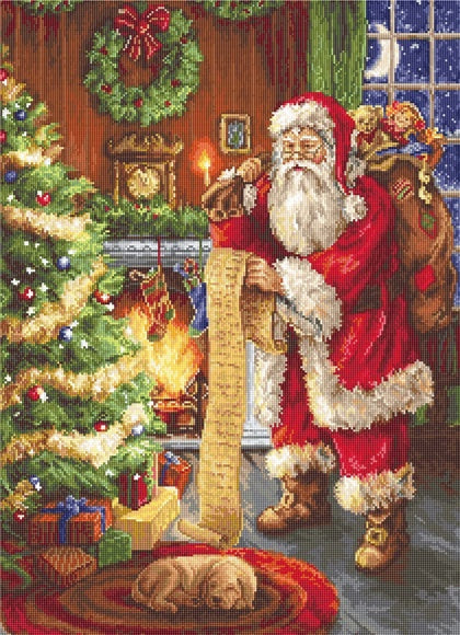 Santa's List Petit Point COUNTED HALF Cross Stitch Kit Luca-s G578