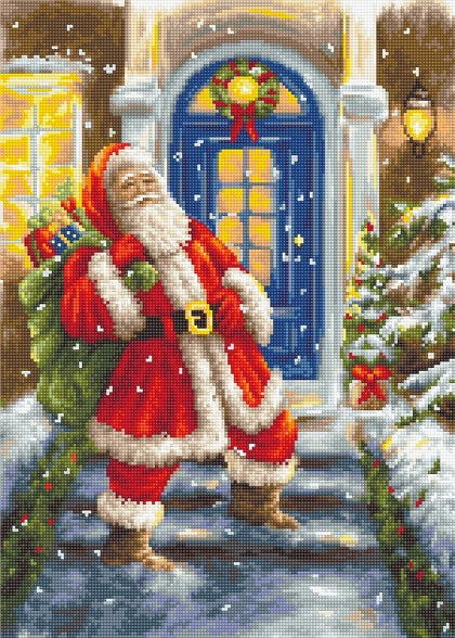 Santa's Visit Petit Point COUNTED HALF Cross Stitch Kit Luca-s G563