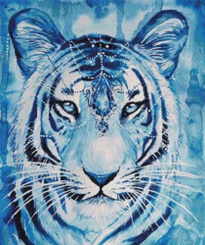 Sapphire Tiger, Modern Counted Cross Stitch Kit -Scandy Girl