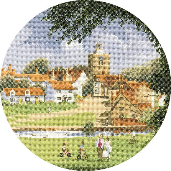 Sleepy Village Cross Stitch Kit, John Clayton Circles, Heritage Crafts