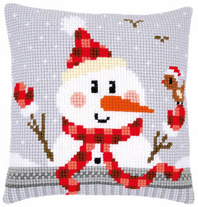 Snowman in Plaid CROSS Stitch Tapestry Kit, Vervaco pn-0168751