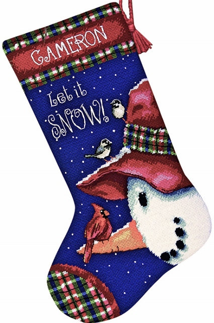 Snowman Perch Stocking Tapestry Needlepoint Kit, Dimensions