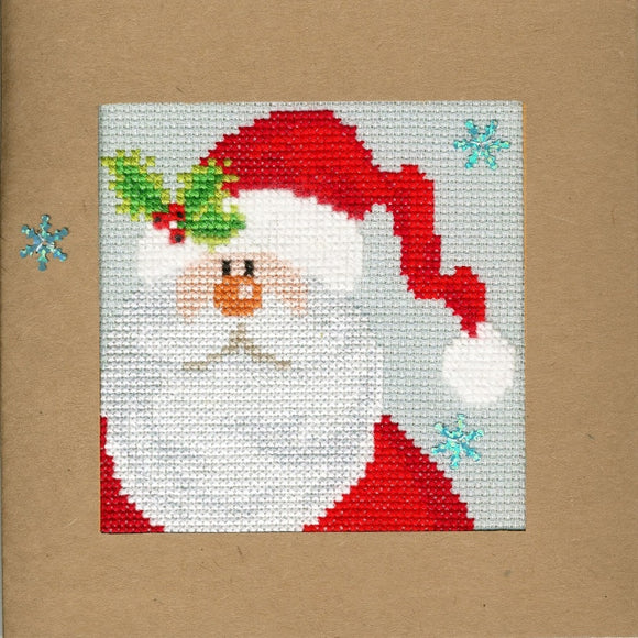 Snowy Santa Christmas Card Cross Stitch Kit, Bothy Threads XMAS15
