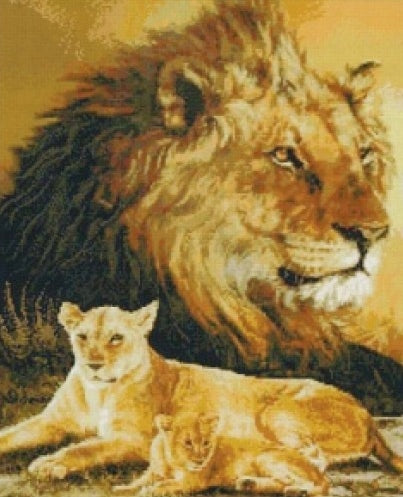 Spirit of the Lion Cross Stitch Kit, Kustom Krafts