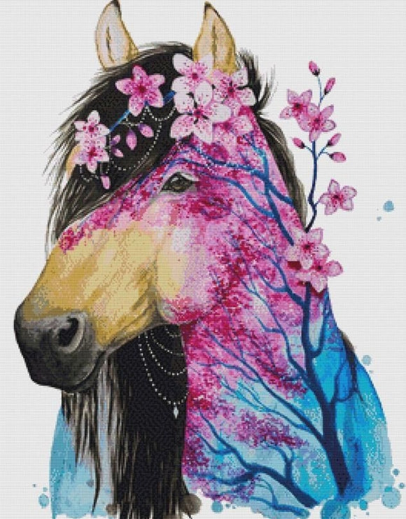 Spring Horse, Modern Counted Cross Stitch Kit -Scandy Girl