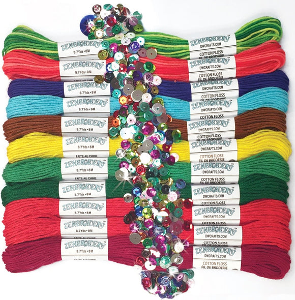 Stranded Cotton Embroidery Thread Pack of 12 -Zenbroidery Festive 4033