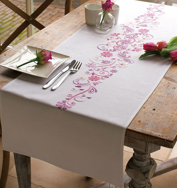 Swirls and Flowers Tablecloth Embroidery Kit Runner, Vervaco PN-0012996