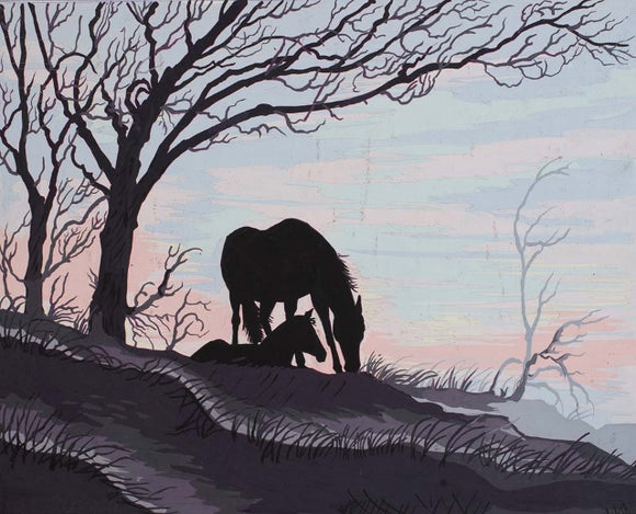 Mare and Foal Silhouette Tapestry CANVAS -Grafitec C11-879