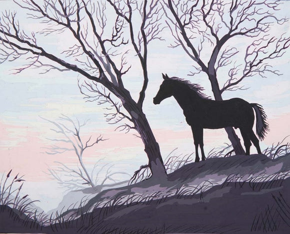 Stallion Silhouette Tapestry Canvas, Needlepoint -Grafitec C11-878