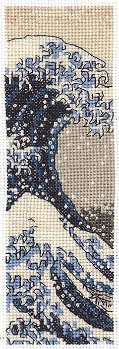 The Great Wave Cross Stitch Kit Bookmark, DMC BL1146/73