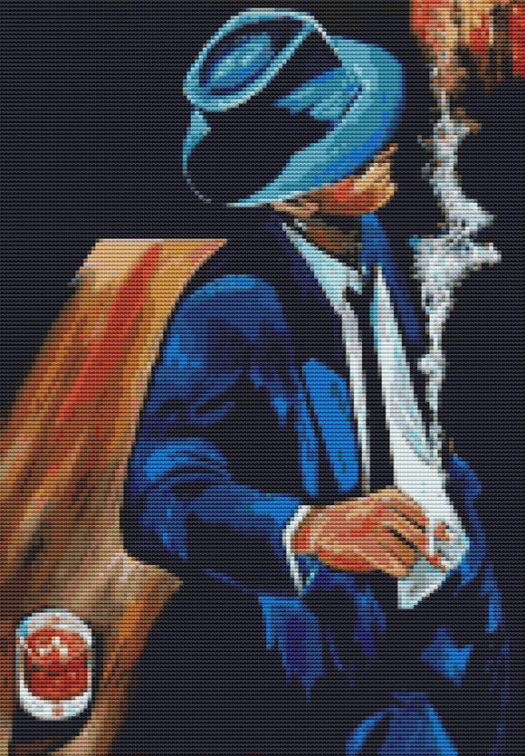 Blue Suit, Modern Counted Cross Stitch Kit -Thomas Fedro