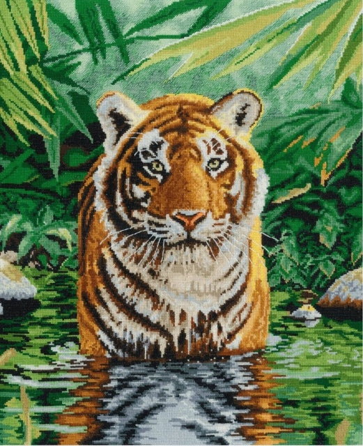 Tiger Pool Cross Stitch Kit, DMC BK1151