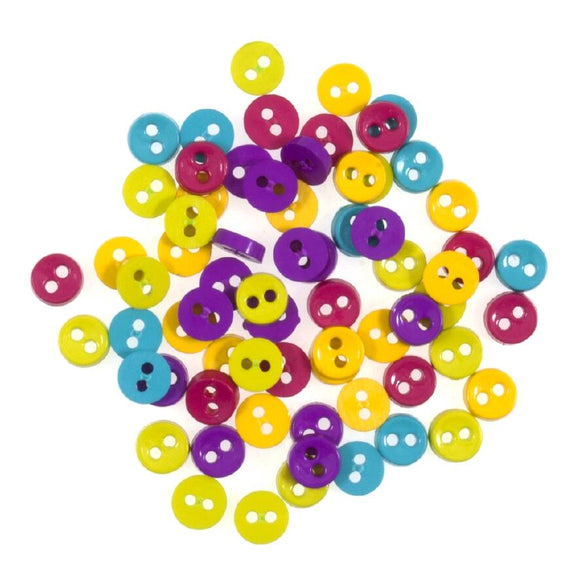 Tiny Buttons Embellishments - Bright Tones 6mm Button Pack