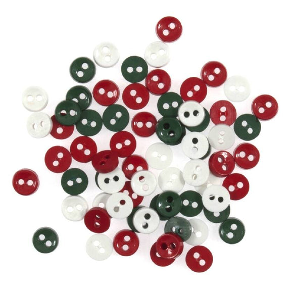Tiny Buttons Embellishments - Round Christmas Red/White/Green 6mm Button Pack