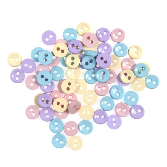 Tiny Buttons Embellishments - Pretty Pastels Tone 6mm Button Pack