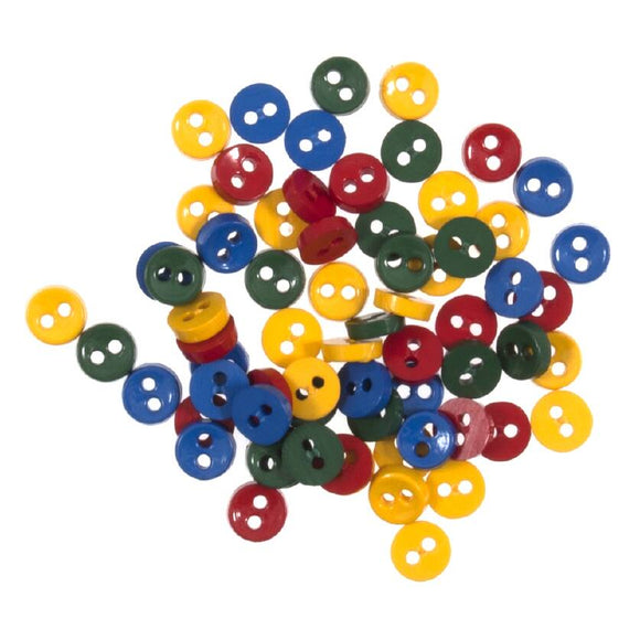 Tiny Buttons Embellishments - Round Primary Colours 6mm Button Pack