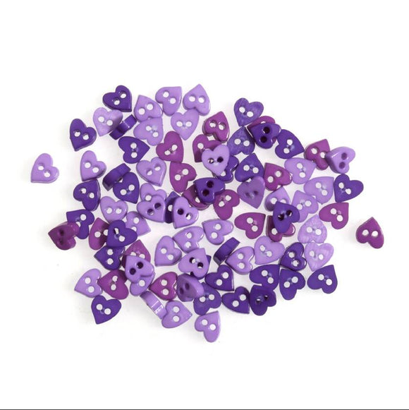 Tiny Buttons Embellishments - Purple Heart 6mm Button Pack