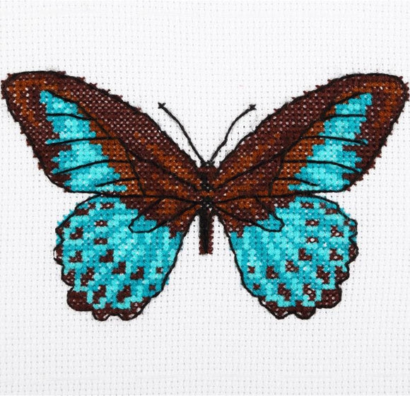 Turquoise Butterfly Cross Stitch Kit, VDV TM-0218