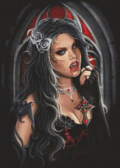 Vampire Cross Stitch Kit -Anna Marine