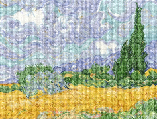 Van Gogh Wheatfield with Cypresses Cross Stitch Kit, DMC BL1067/71