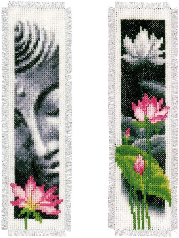 Lotus and Buddha Bookmarks Counted Cross Stitch Kit, Vervaco pn-0155652
