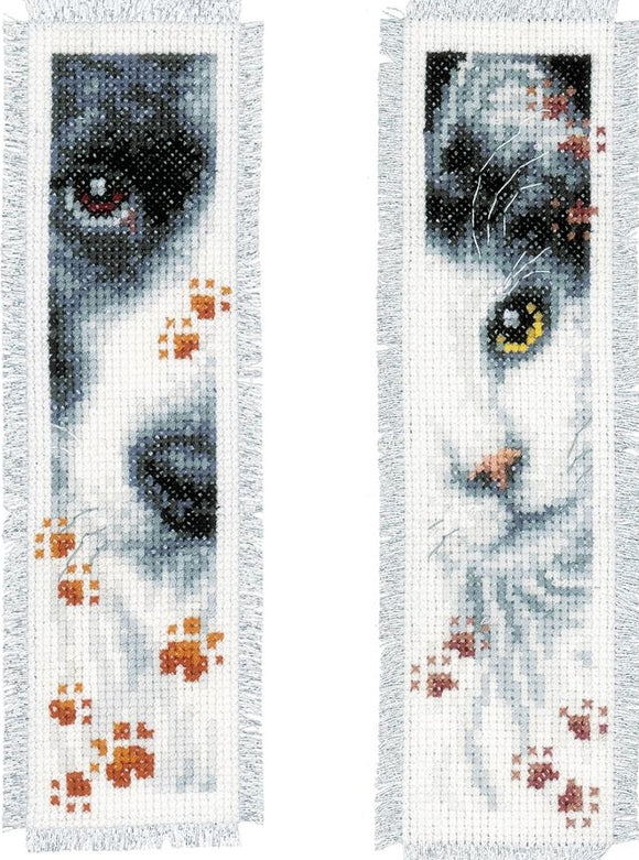 Dog and Cat Bookmarks Counted Cross Stitch Kit, Vervaco pn-0155651
