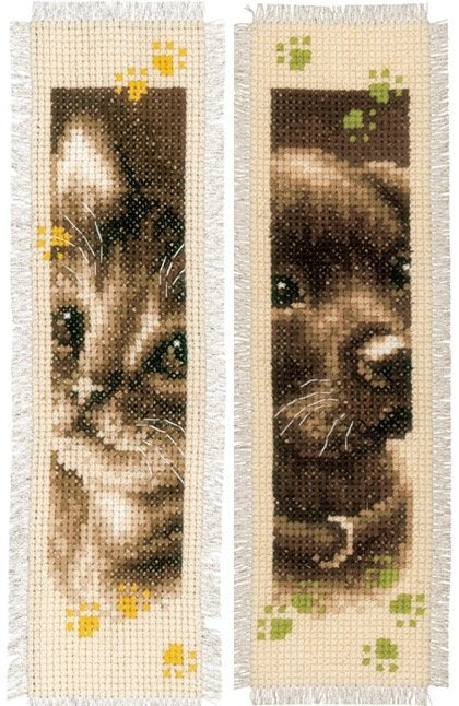 Kitten and Puppy Bookmarks Counted Cross Stitch Kit, Vervaco pn-0155362